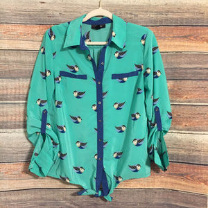 Style & co. bird pattern button down top